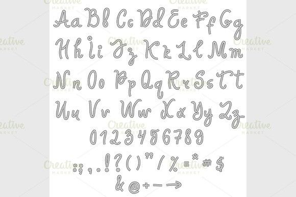 Vector alphabet. Hand drawn letters.. Fonts. $3.00