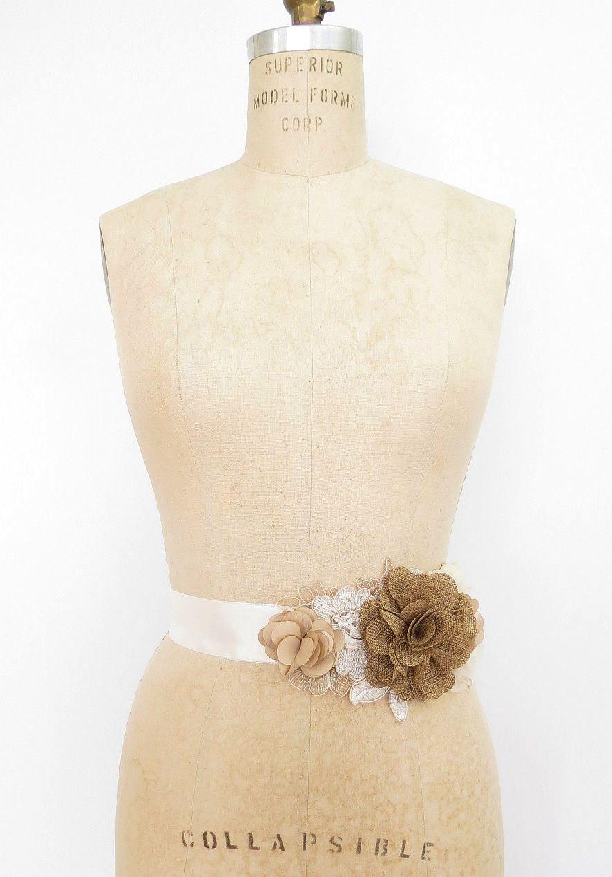 Burlap wedding dress sash  burlap wedding accessories bridal sash for wedding dress  dresses