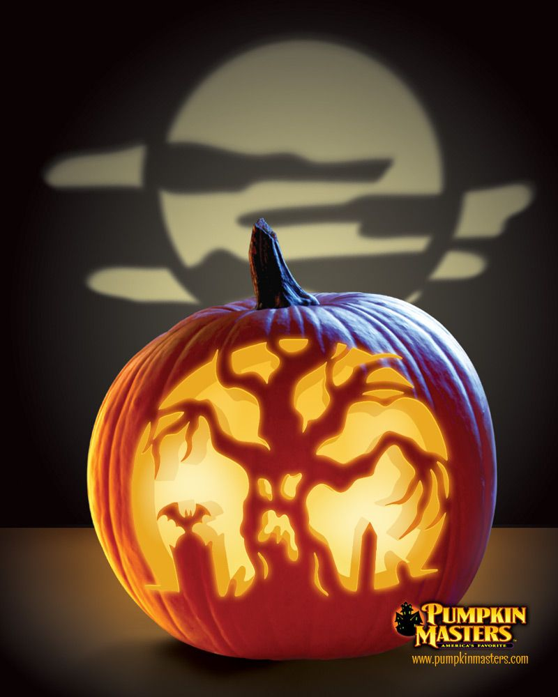 "Scary Pumpkin Carving Patterns: ""Graveyard Guardian"" Pattern From The Pumpkin Masters"