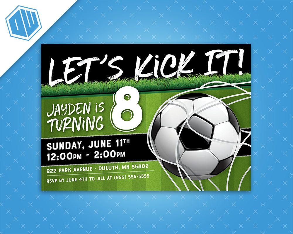 Soccer - Let\'s Kick It! Birthday Invitation | 5x7 or 4x6 | Soccer ...