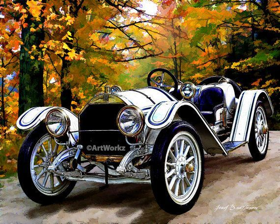 Auto Art – Classic Car Print – 1911 Mercer Type 35 Raceabout – Retro Print – Rac…