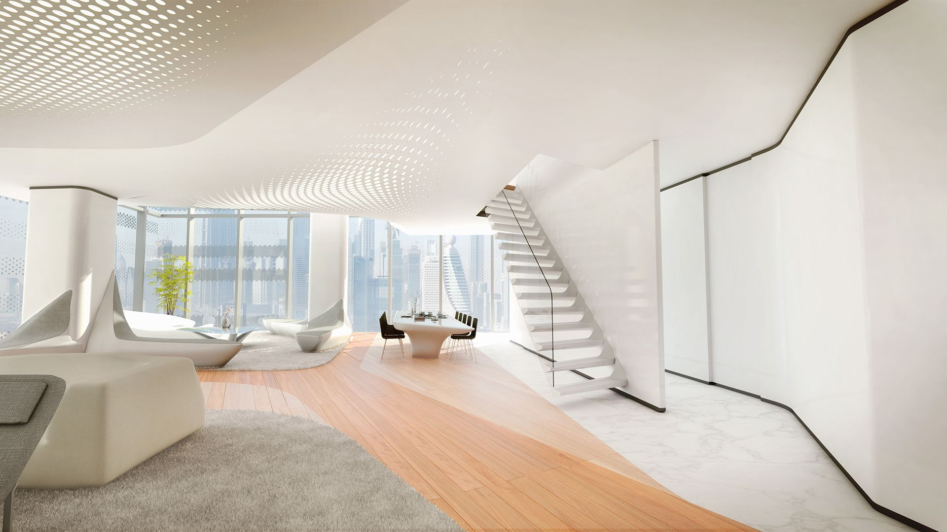 zaha hadid designs interiors for dubai\'s opus office tower | Mockup ...