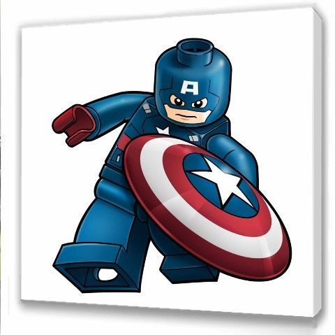 Lego Avengers Captain America Kids Bedroom Canvas Picture