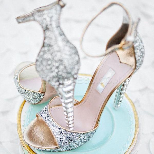 Ericdress Luxurious Rhinestone Ankle Strap Wedding Shoes Stiletto Sandals