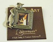 Vintage Spoontiques Pin Art Cat Frame Brooch, Pewter, Wear a Picture of Your Cat
