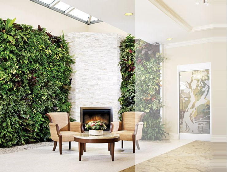 Adding vertical gardens to the fireplace wall would be