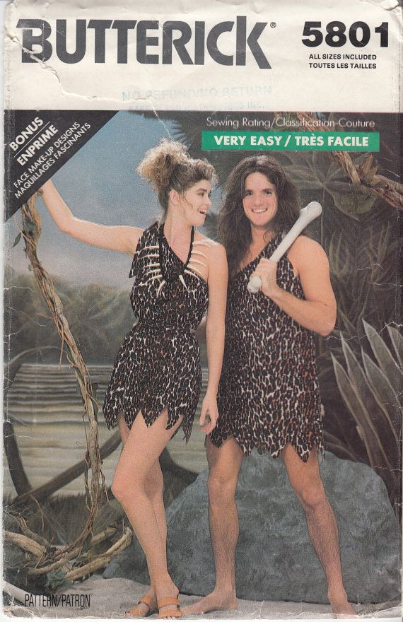 Couplesu0027 Costume Sewing Pattern EASY CAVEMAN CAVEWOMAN 80s Adult Halloween Costume Sizes xl to l Bust 30.5-40  (78-102 cm) Butterick 5801 S  sc 1 st  Pinterest & Couplesu0027 Costume Sewing Pattern EASY CAVEMAN CAVEWOMAN 80s Adult ...