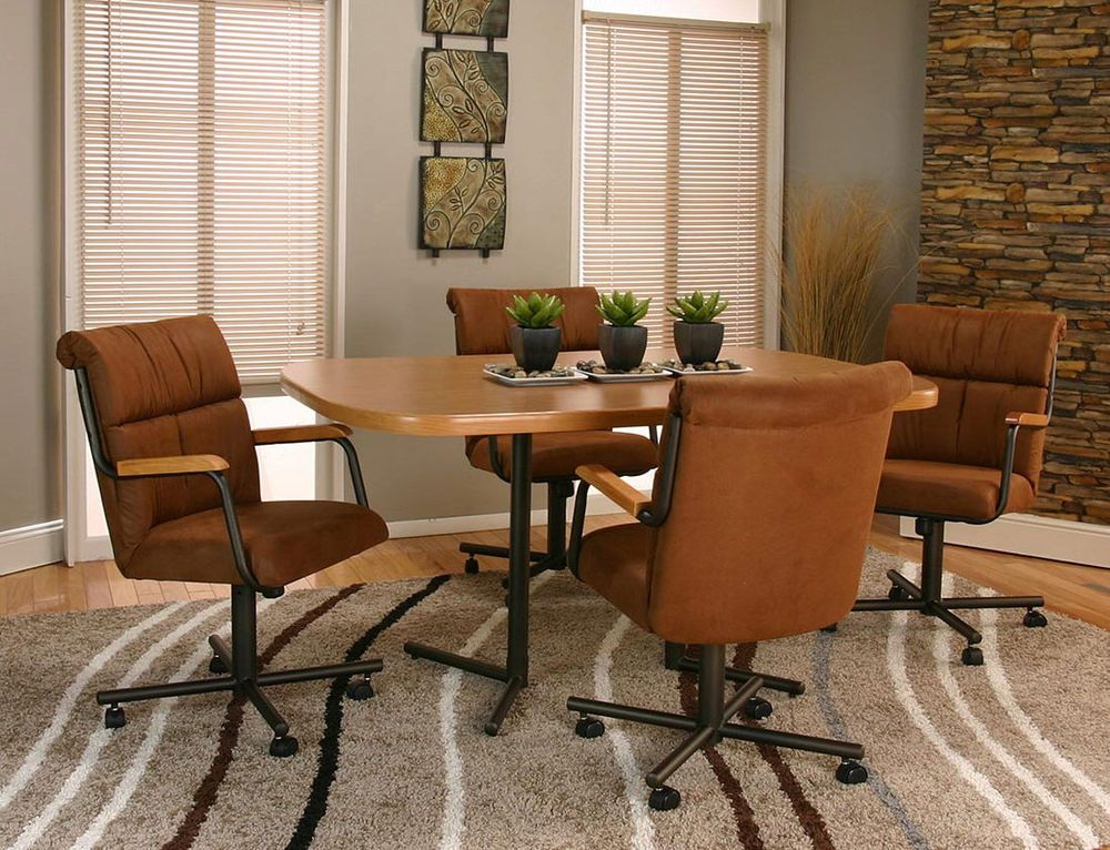 5 Piece CASTER DINING CHAIRS And TABLE SET With 4 Swivel Tilt Chairs MADE IN USA