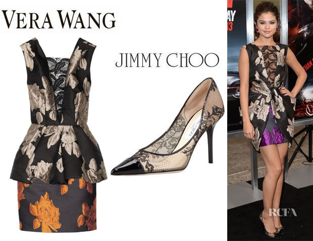 c658f48a55a1 Selena Gomez  Vera Wang Rose Jacquard Peplum Dress And Jimmy Choo  Alias   Lace Pumps