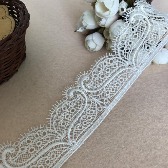 Ivory floral eyelash style lace trim Bridal Wedding tulle lace trim Per Yard90cm