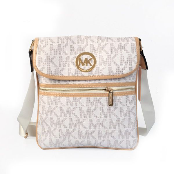 Michael Kors Fulton Logo Large White Shoulder Bag