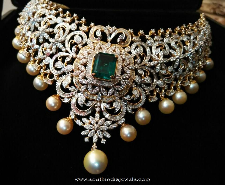 Diamond choker necklace embellished with emeralds and south sea pearls. For inquiries please contact the seller below. Seller Name : Ishwarya Diamonds Conta