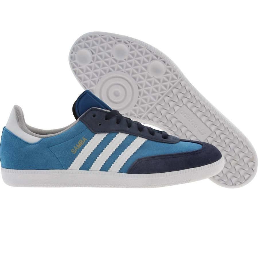 Adidas Samba shoes in dark royal, white, and dark indigo