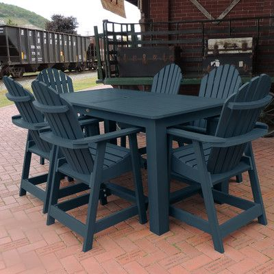 Beachcrest Home Shelton 7 Piece Counter Height Dining Set Finish: Nantucket Blue