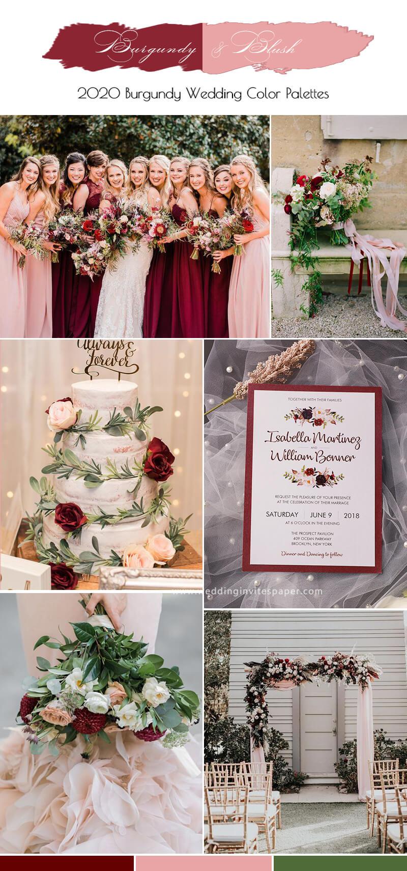 burgundy and blush wedding colors palettes Wedding