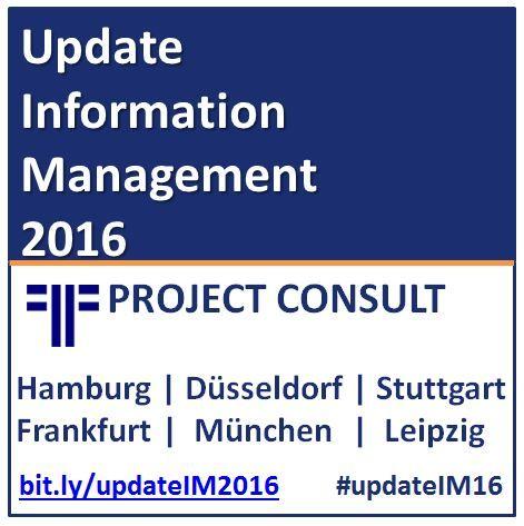 """Update Information Management 2016"":  Di 26.1. Hamburg http://bit.ly/S01_16HH Mi 27.1. Düsseldorf http://bit.ly/S01_16DUS Do 28.1. Stuttgart http://bit.ly/S01_16S Di 2.2. Frankfurt http://bit.ly/S01_16Ffm Mi 3.2. München http://bit.ly/S01_16Muc Do 4.2. Leipzig http://bit.ly/S01_16Leip"