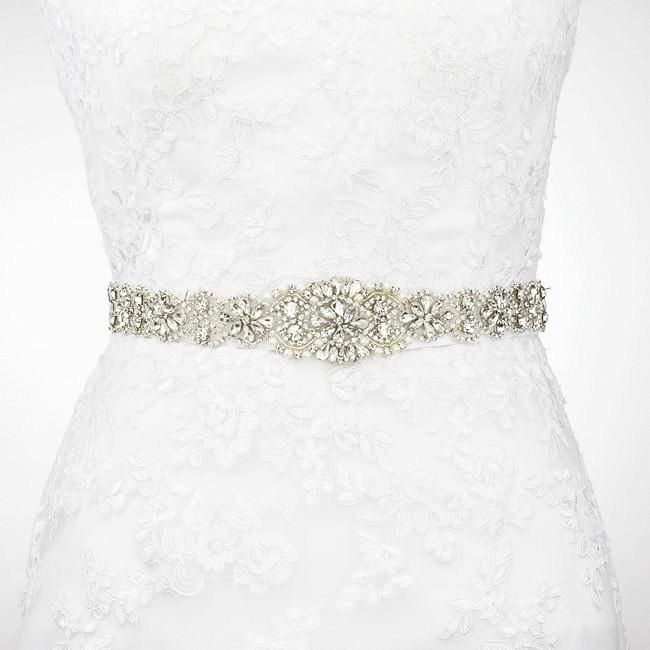 7aa3fc97f7 Silver Rhinestone Sash Belt Skinny Wedding Dress Belt -