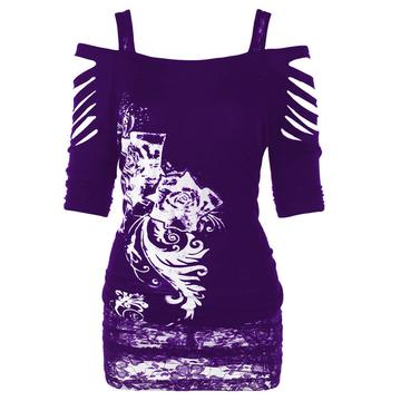 Plus Size Womens Ladies Off shoulder Rock Gothic Shirt Casual Ripped Blouse Tops