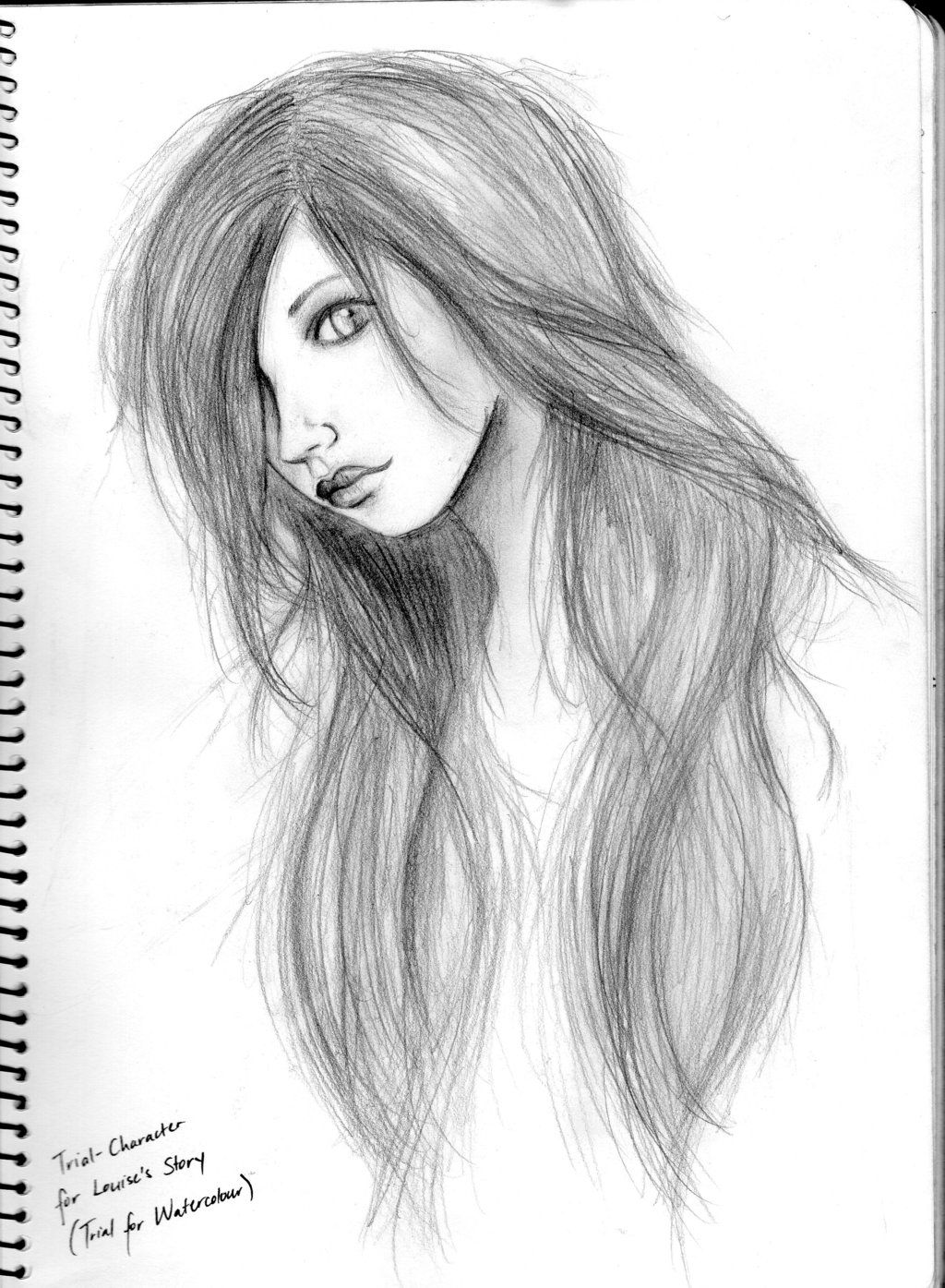 Girl Side Pic Art Pencil Sketch