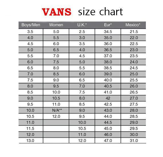 vans toddler size chart