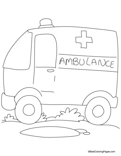Ambulane Van Coloring Page Download Free Ambulane Van Coloring