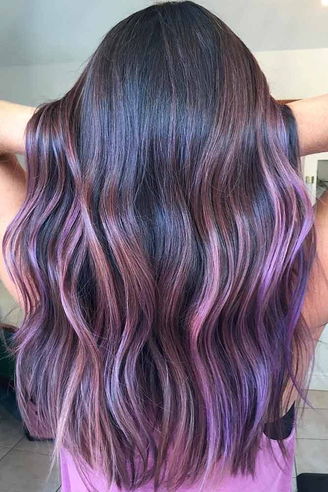 Purple And Dark Brown Balayage With Images Purple Ombre Hair