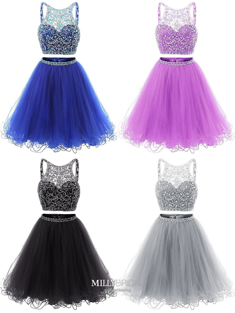 46b7bef4a065 Royal Blue Homecoming Dresses Short, Two Piece Prom Dresses Backless,  A-line Cocktail Party Dresses Tulle, Classy Graduation Dresses Beading  #MillyBridal ...