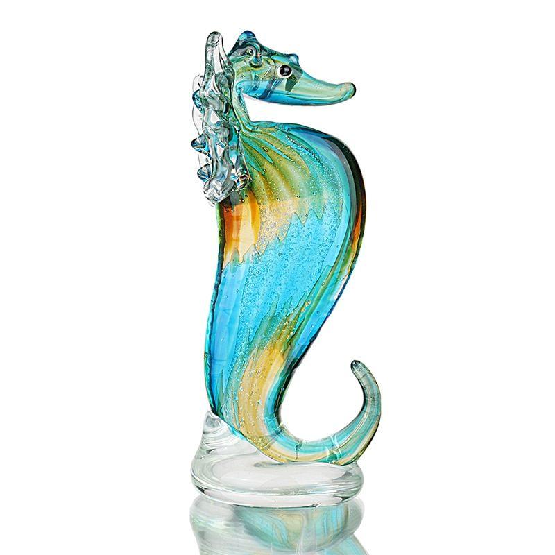 Murano Green Art-Glass Seahorse fish Figurine