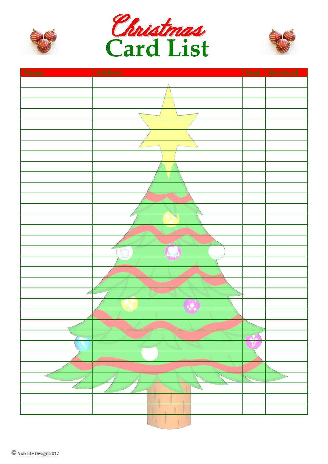 christmas card list planner printable | christmas | pinterest | planners