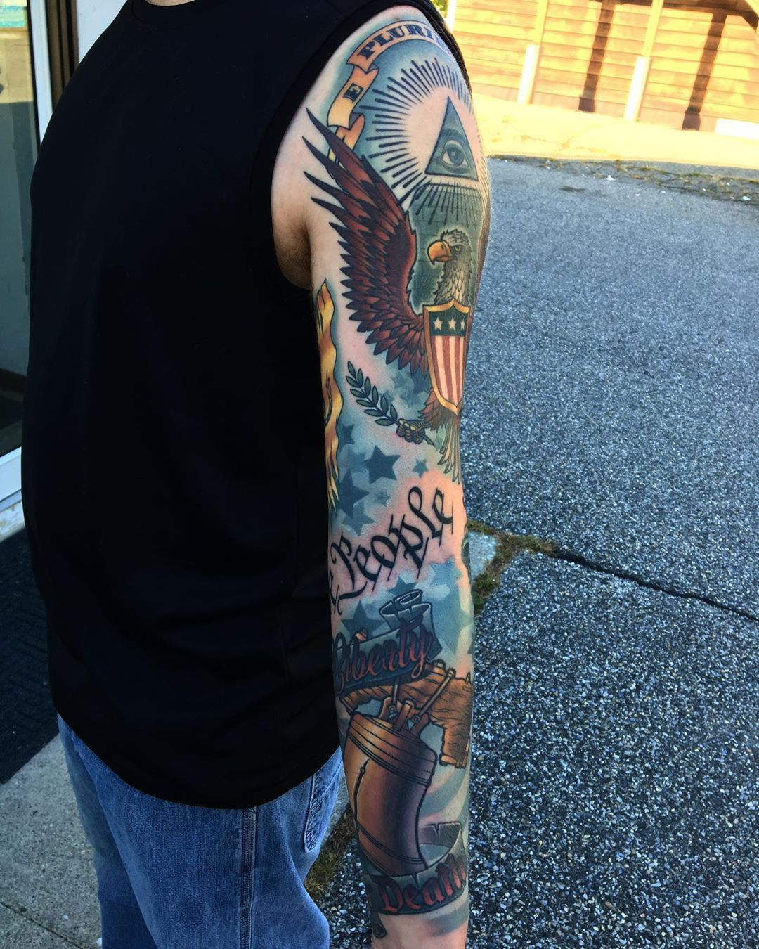 American history tattoo sleeve by the best ct tattoo