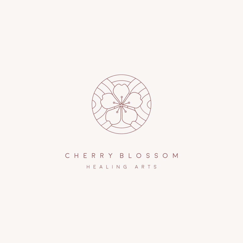 Cherry Blossom Healing Arts Logo Inspiration Minimalist With