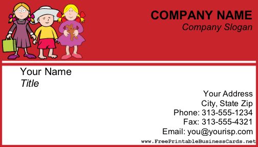 A Child Care Themed Business Card With Three Kids Along The