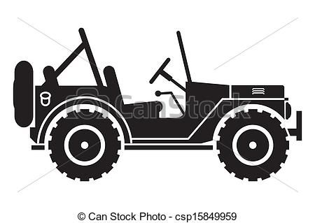 Clipart Vector Of Jeep Silhouette Gin Suv Silhouette With An