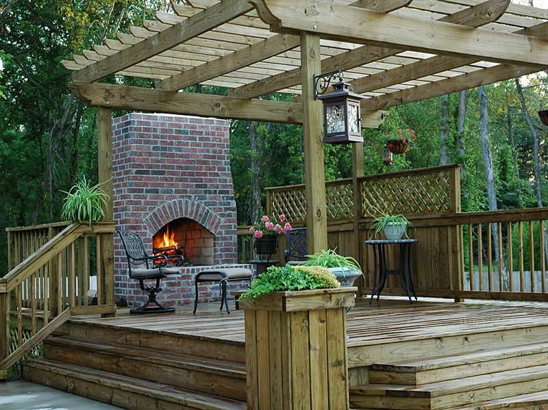 Wood Deck Designs With Fireplace Deck Fireplace Deck With Pergola Wood Deck Designs