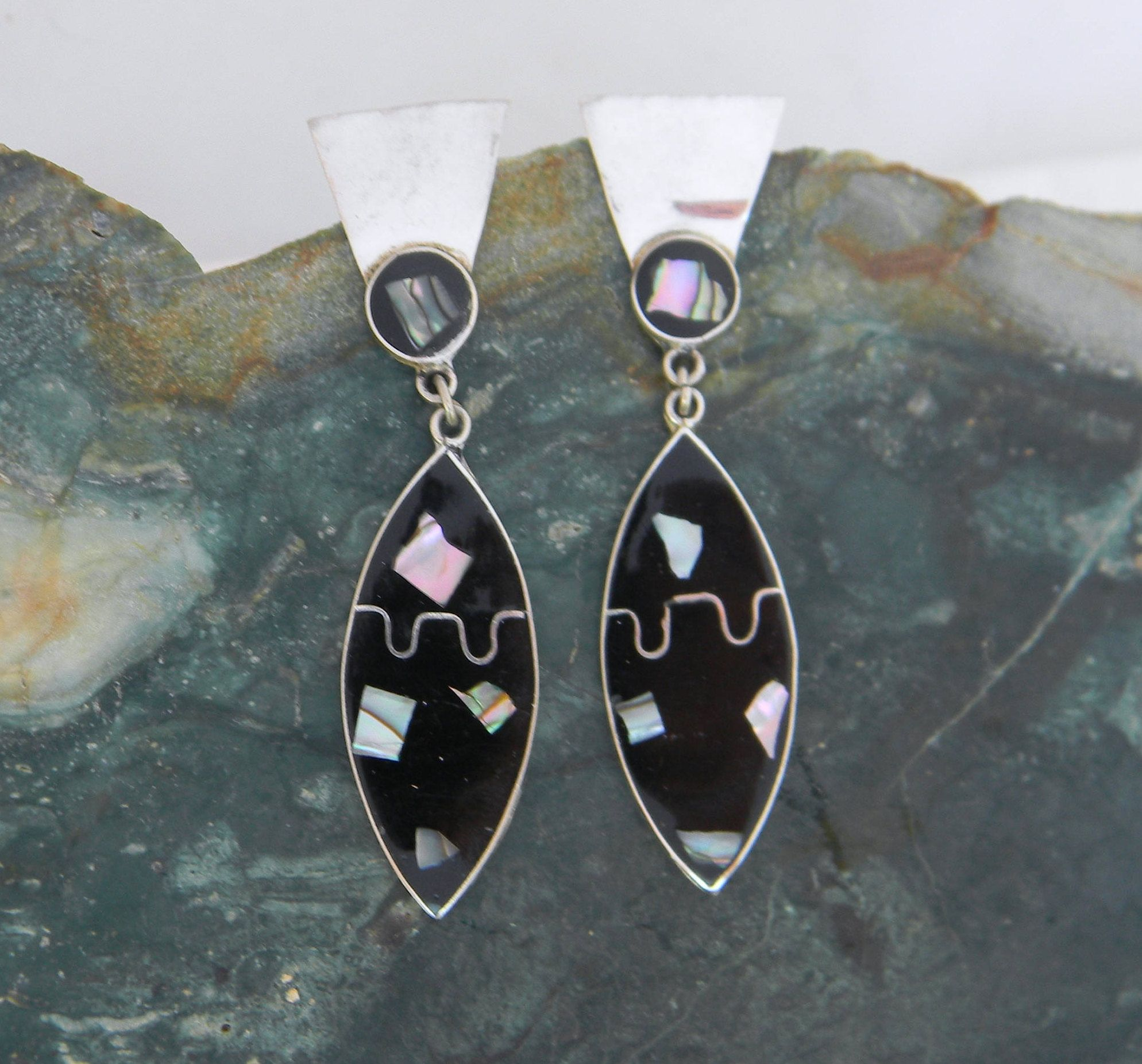 triangle shell earrings jewelry silver abalone stud pin sterling