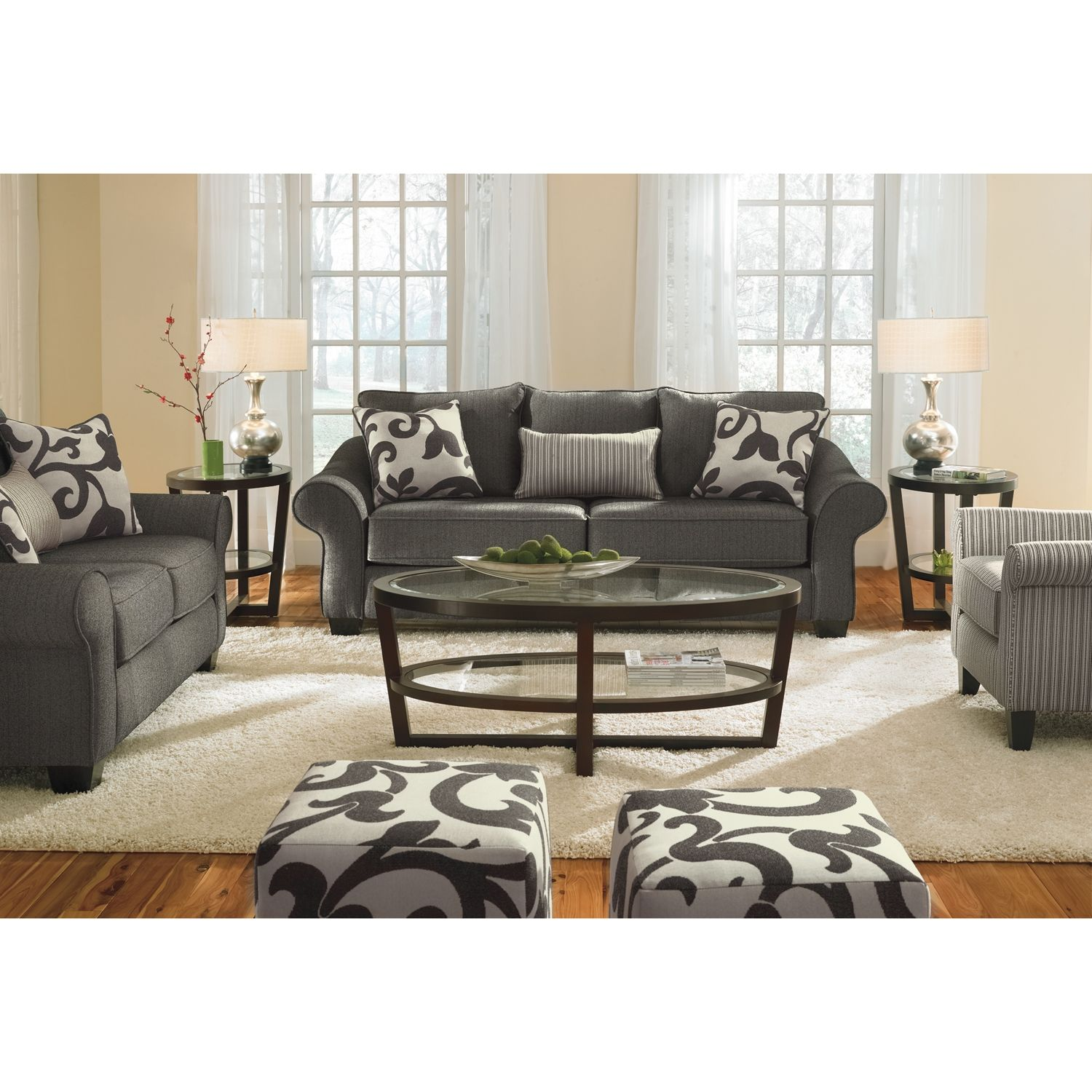 500 Colette Upholstery 3 Seat Gray Herringbone Sofa With Accent