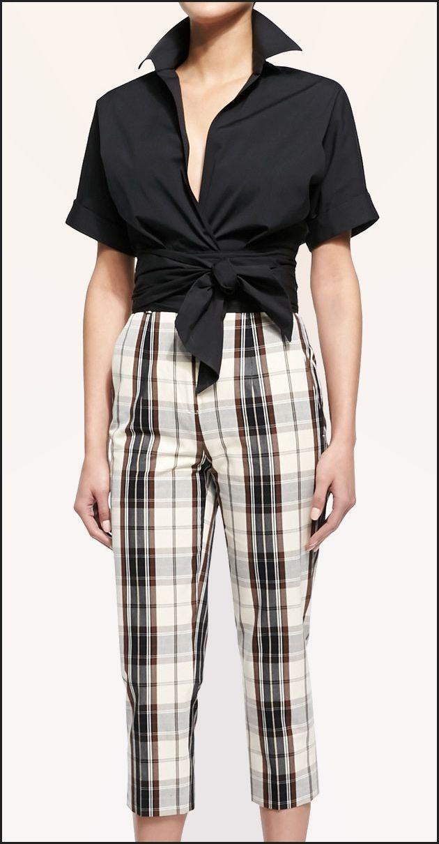 Michael Kors wrap-front blouse & plaid mid-calf skinny pants 2015