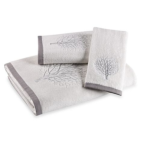 Laura Ashley Forest White Silver Fingertip Towel Goruntuler Ile