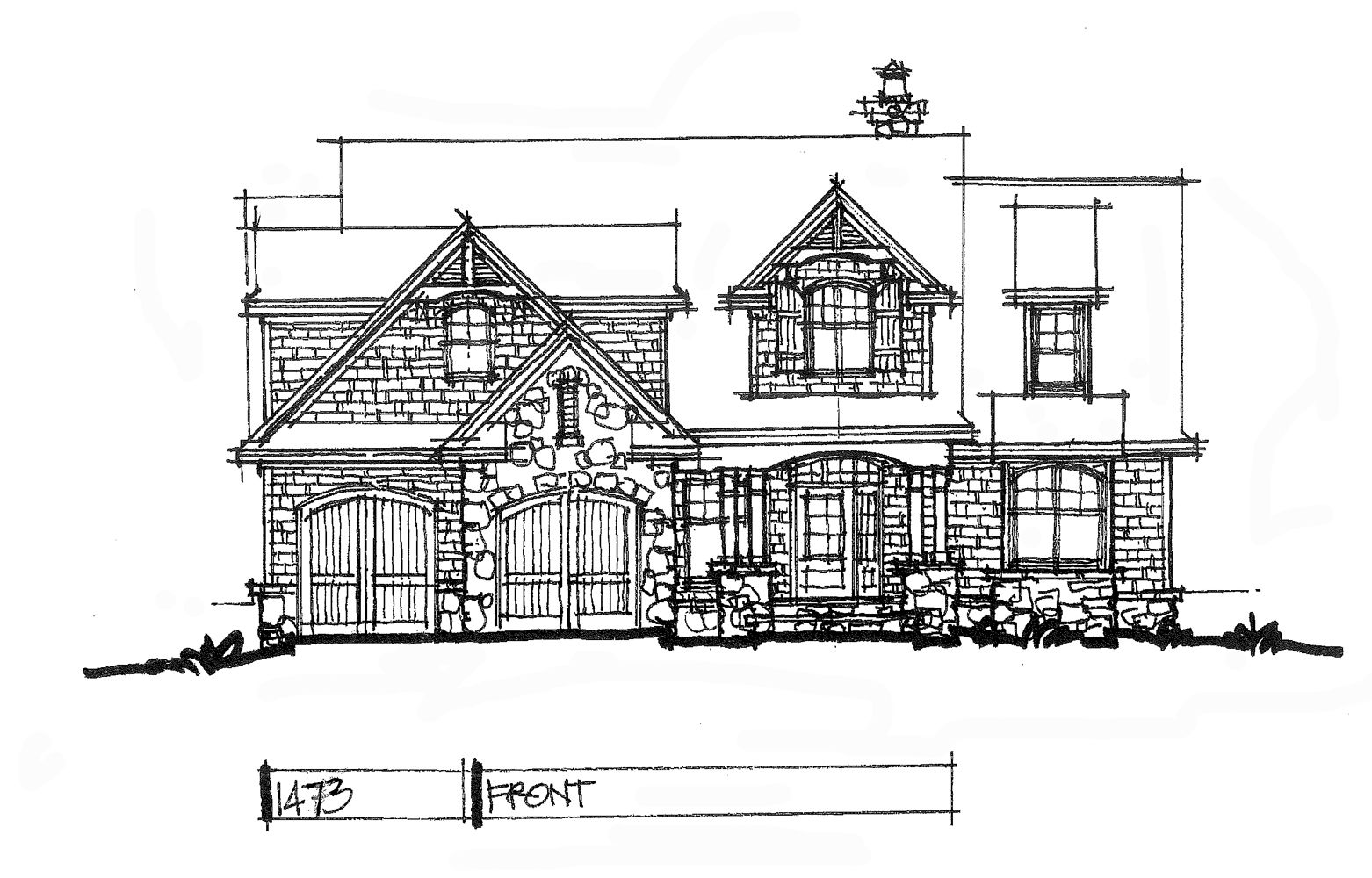 Conceptual house plan rustic twostory front elevation