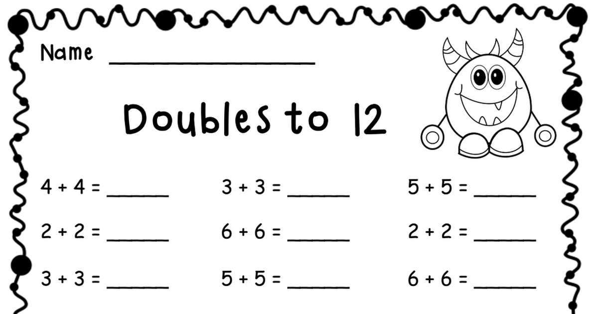 Doubles to 12.pdf Free math worksheets, Addition