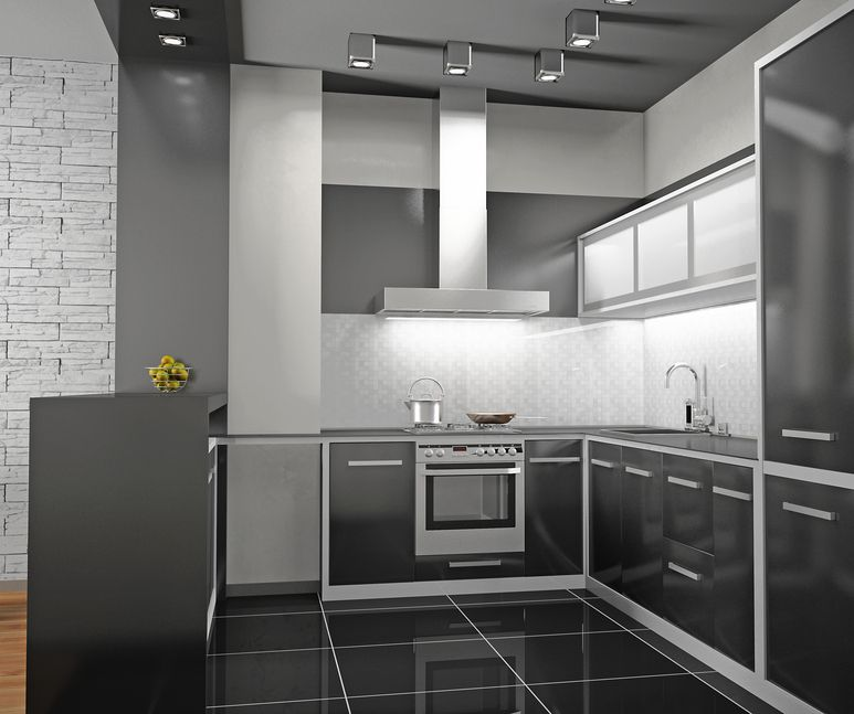 Custom Small Black And White Kitchen White Walls Black Appliances And Floor Luxury Kitchen Design Modern Kitchen Design White Kitchen Design