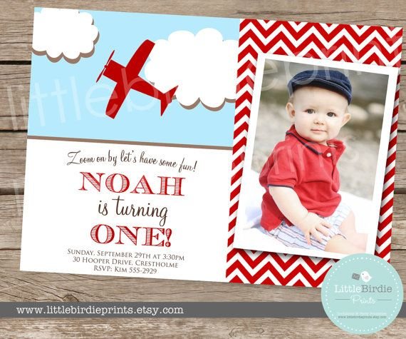 Items Similar To Airplane Birthday Invitation: AIRPLANE INVITATION Vintage Birthday Party Chevron Clouds