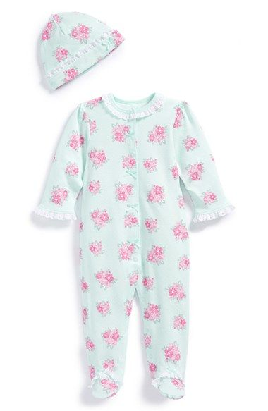 Free shipping and returns on Little Me 'Spring Posies' Footie & Hat (Baby Girls) at Nordstrom.com. Think spring with this lace-trimmed footie featuring posy bouquets across a dainty polka-dot background. A matching hat completes the adorable set.