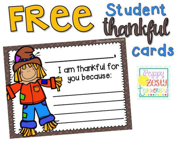 FREE students thankful cards! Write a note telling each kids why you are thankful for them! This is a perfect way to remind students they are loved individually!