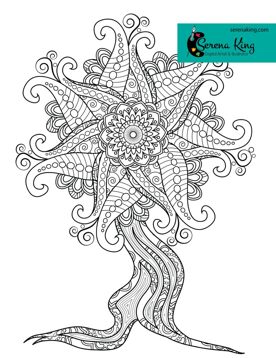 Mandala Tree Coloring Page Tree Coloring Page Coloring Pages Coloring Book Art