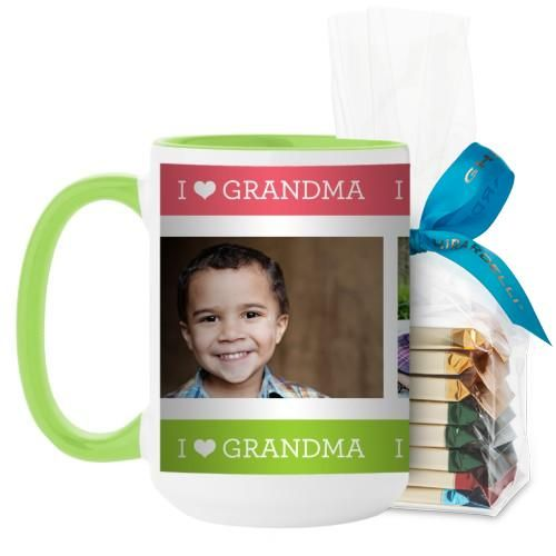 I Heart Grandma Mug, Green, with Ghirardelli Assorted Squares, 15 oz, Pink