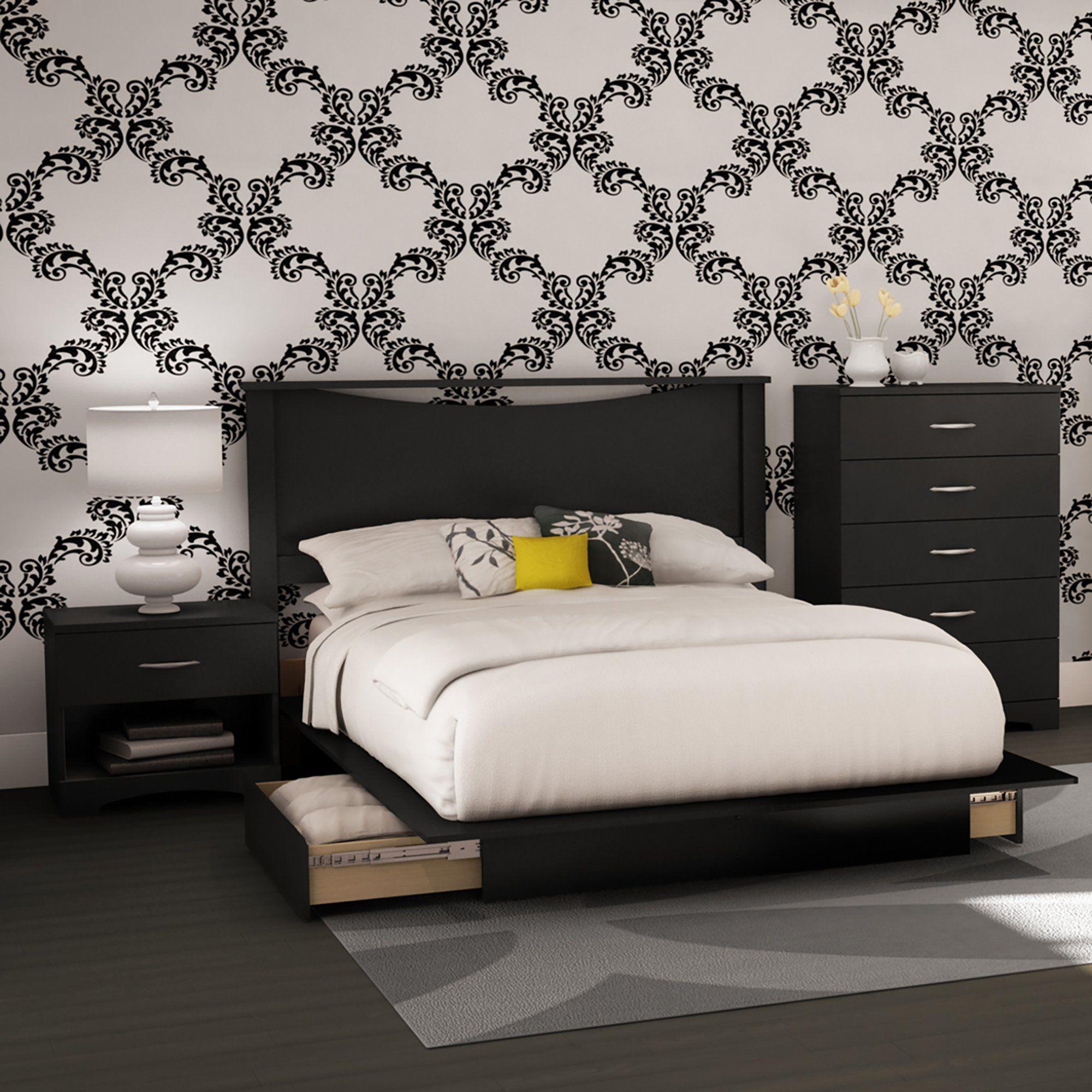 Black 4 Piece Full Size Bedroom Set Step One Platform Bedroom Sets Bedroom Set Full Size Bedroom Sets