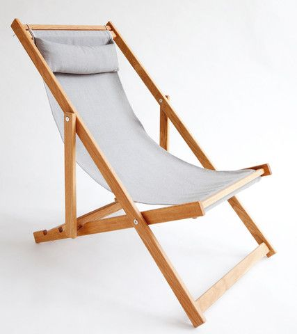 Gray Grey Outdoor Fabric Sling Deck Chair Patio Furniture, Gallant And Jones