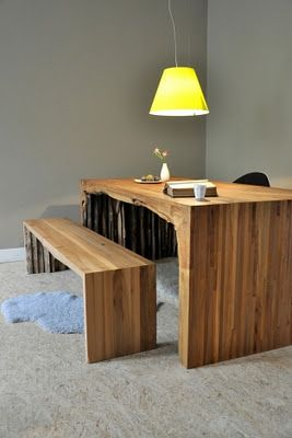 Wood table and bench - from Dutch designer Melle Koot