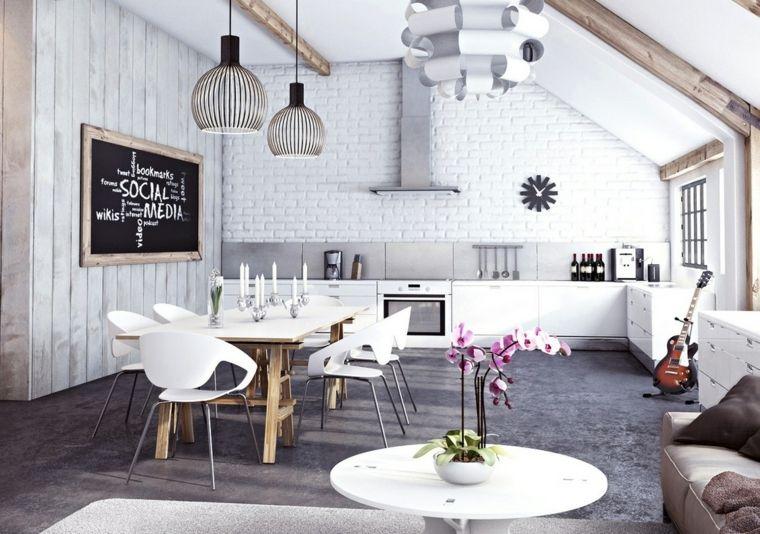 Open Space Con Mobili Soggiorno Moderni Con Cucina Bianca Tavolo Da Pranzo Bianco E Divano Lineare Arredamento Arredamento Salotto Idee Di Interior Design